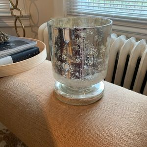 West Elm Large Mercury Glass Footed Hurricane